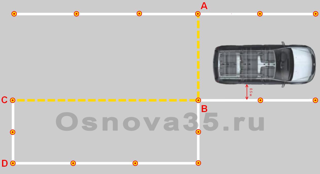 Параллельная парковка автодром вид с машины